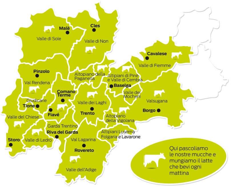 Cartina Trentino.Zone Di Mungitura Latte Trento It